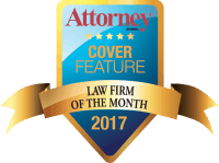 Attorney Journal 2017 Law Firm of the Month badge